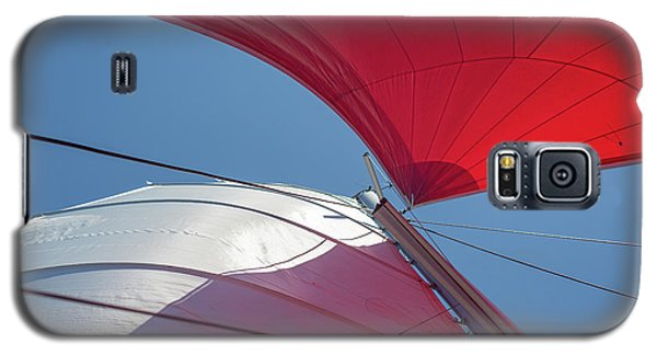 Galaxy S5 Case featuring the photograph Red Sail On A Catamaran 3 by Clare Bambers