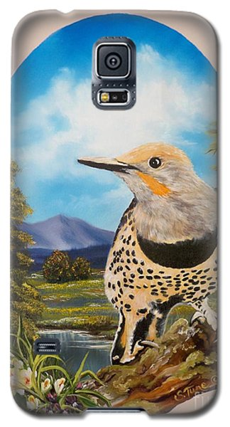 Galaxy S5 Case featuring the painting Red Shafted Flicker by Sigrid Tune