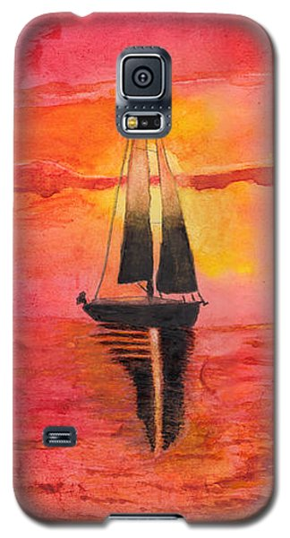Red Sky At Night Sailors Delight Watercolor Galaxy S5 Case
