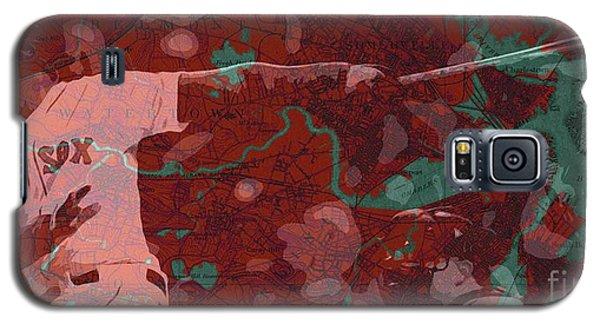 Sport Art Galaxy S5 Case - Red Sox Baseball Player On Boston Harbor Map by Drawspots Illustrations