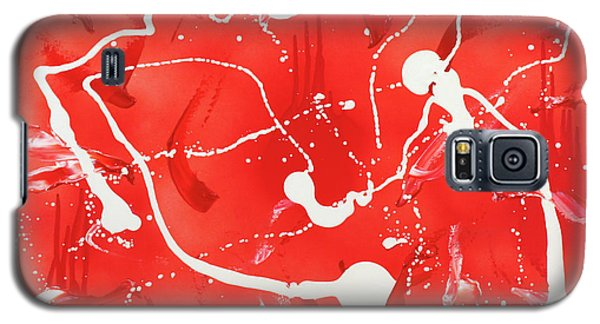 Galaxy S5 Case featuring the painting Red Spill by Thomas Blood