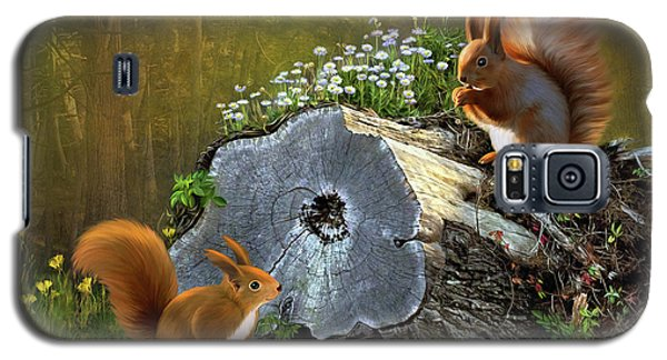 Galaxy S5 Case featuring the digital art Red Squirrels by Thanh Thuy Nguyen