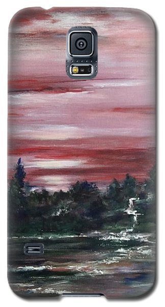 Galaxy S5 Case featuring the painting Red Sun Set  by Laila Awad Jamaleldin