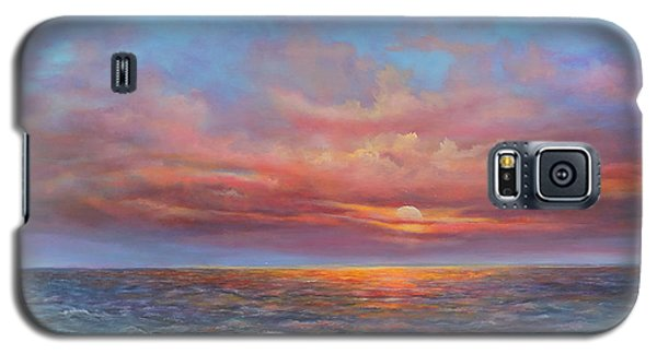 Galaxy S5 Case featuring the painting Red Sunset At Sea by Katalin Luczay