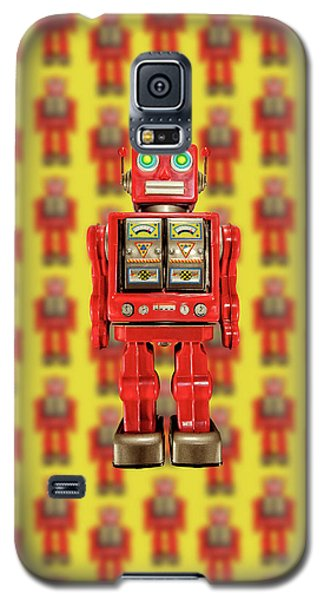 Galaxy S5 Case featuring the photograph Red Tin Toy Robot Pattern by YoPedro