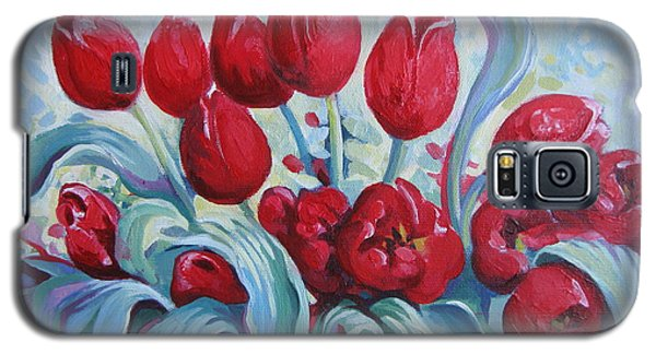 Galaxy S5 Case featuring the painting Red Tulips by Elena Oleniuc