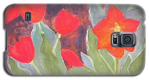 Galaxy S5 Case featuring the painting Red Tulips by Sandy McIntire