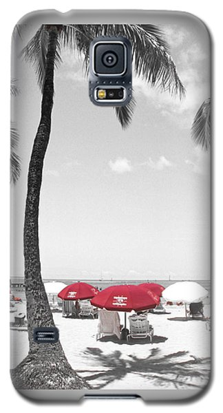 Galaxy S5 Case featuring the photograph Red Umbrellas On Waikiki Beach Hawaii by Kerri Ligatich