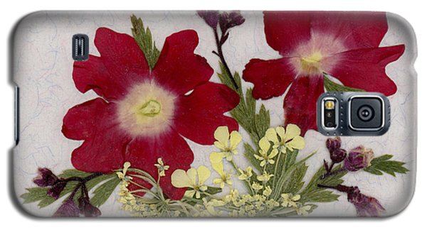 Red Verbena Pressed Flower Arrangement Galaxy S5 Case