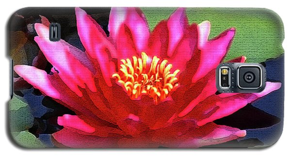 Red Water Lily - Palette Knife Galaxy S5 Case by Lou Ford