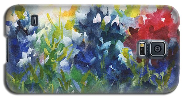 Red White And Bluebonnets Watercolor Painting By Kmcelwaine Galaxy S5 Case