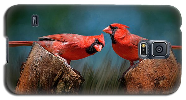 Galaxy S5 Case featuring the photograph Redbird Sentinels by Bonnie Barry