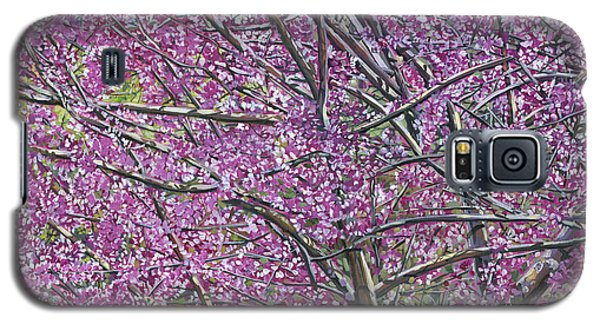 Galaxy S5 Case featuring the painting Redbud Tree by Nadi Spencer