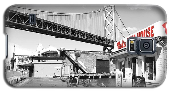 Reds Java House And The Bay Bridge In San Francisco Embarcadero . Black And White And Red Galaxy S5 Case