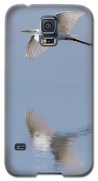 Reflected Great Egret In Flight  Galaxy S5 Case