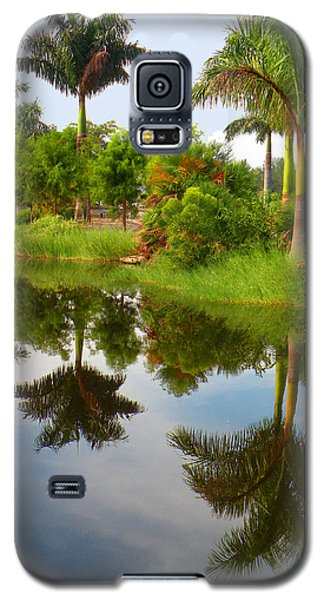 Galaxy S5 Case featuring the photograph Reflected Palms by Rosalie Scanlon