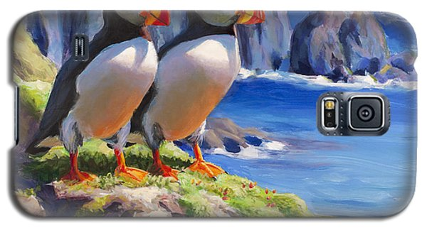 Galaxy S5 Case featuring the painting Reflecting - Horned Puffins - Coastal Alaska Landscape by Karen Whitworth