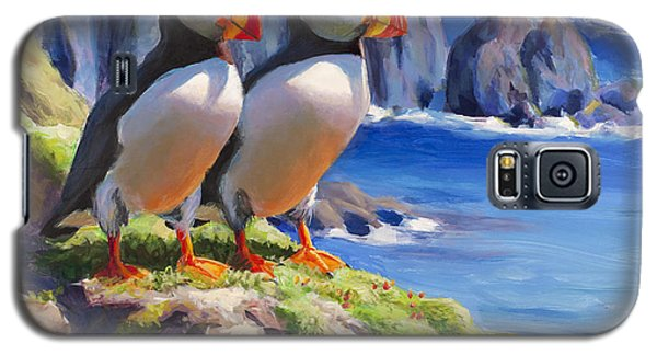 Reflecting - Horned Puffins - Coastal Alaska Landscape Galaxy S5 Case