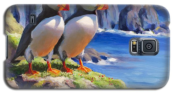 Horned Puffin Painting - Coastal Decor - Alaska Wall Art - Ocean Birds - Shorebirds Galaxy S5 Case