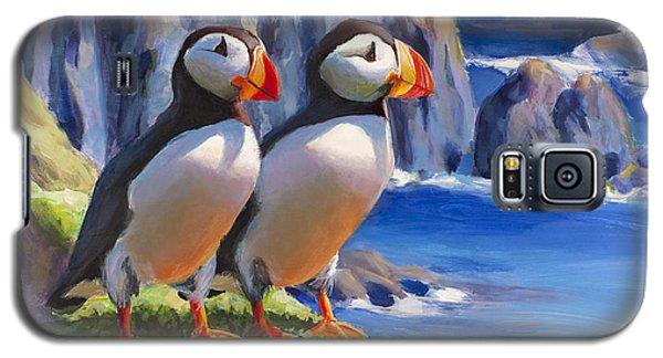 Horned Puffin Painting - Coastal Decor - Alaska Wall Art - Ocean Birds - Shorebirds Galaxy S5 Case