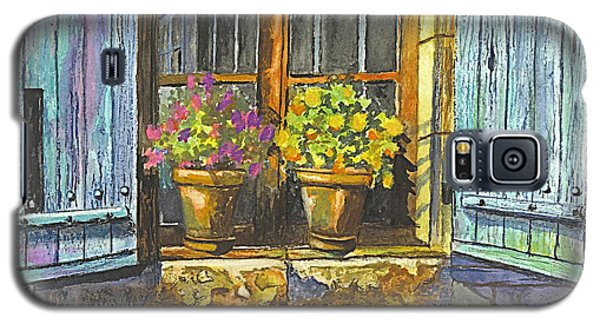 Galaxy S5 Case featuring the painting Reflections In A Window by Carol Wisniewski