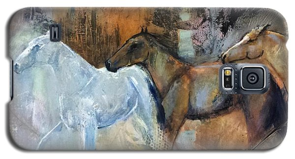 Galaxy S5 Case featuring the painting Reflextion Of The White Horse by Frances Marino