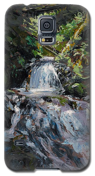 Galaxy S5 Case featuring the painting Refreshed - Rainforest Waterfall Impressionistic Painting by Karen Whitworth