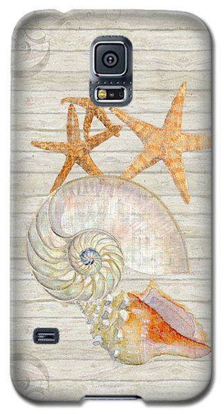 Refreshing Shores - Lighthouse Starfish Nautilus N Conch Over Driftwood Background Galaxy S5 Case