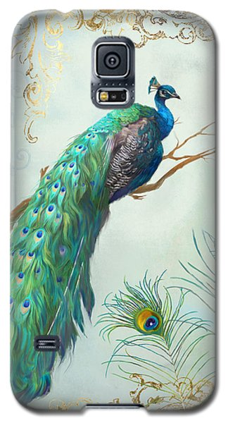 Regal Peacock 1 On Tree Branch W Feathers Gold Leaf Galaxy S5 Case by Audrey Jeanne Roberts