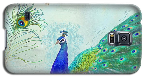 Regal Peacock 2 W Feather N Gold Leaf French Style Galaxy S5 Case