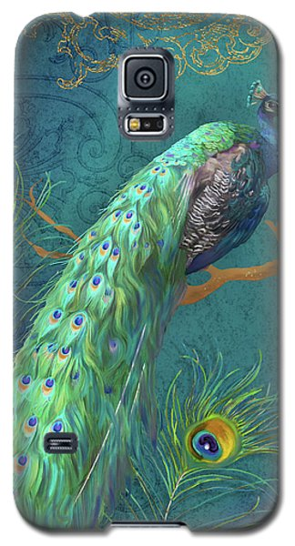 Peacock Galaxy S5 Case - Regal Peacock 3 Midnight by Audrey Jeanne Roberts