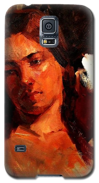 Galaxy S5 Case featuring the painting Religious Portrait Of A Young Boy Man Or Woman Reclining In Dramatic Thought Mystery Strong Cont by M Zimmerman MendyZ