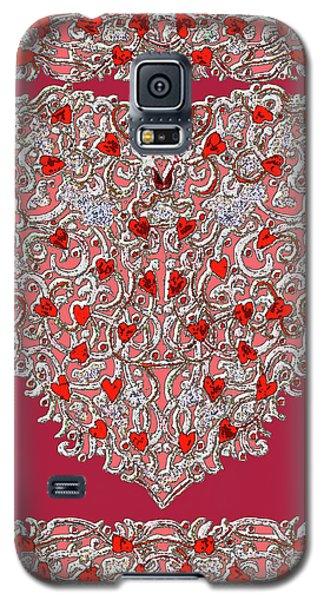 Renaissance Style Heart With Dark Red Background Galaxy S5 Case