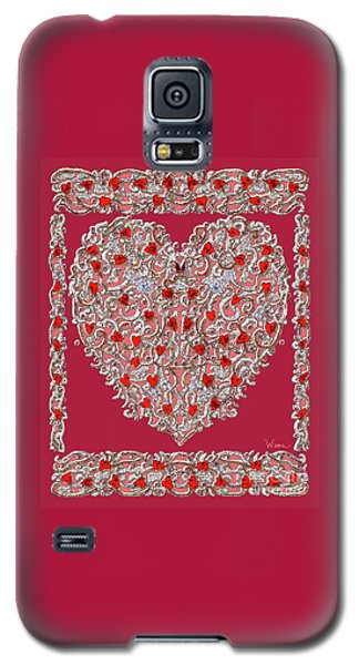Renaissance Style Heart With Dark Red Background Galaxy S5 Case