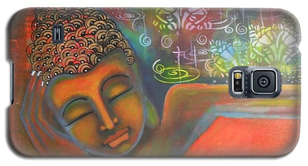 Galaxy S5 Case featuring the painting Buddha Resting Against A Colorful Backdrop by Prerna Poojara