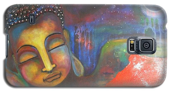 Galaxy S5 Case featuring the painting Buddha Resting Under The Full Moon  by Prerna Poojara