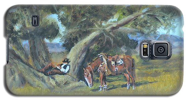 Galaxy S5 Case featuring the painting Resting Cowboy Painting A Study by  Luczay