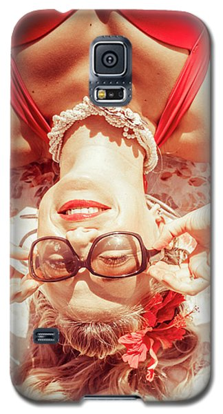 Retro 50s Beach Pinup Girl Galaxy S5 Case