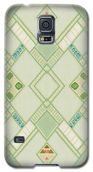 Galaxy S5 Case featuring the digital art Retro Green Diamond Tile Vintage Wallpaper Pattern by Tracie Kaska