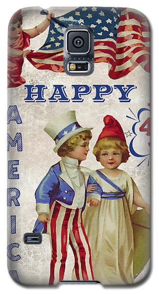 Galaxy S5 Case featuring the digital art Retro Patriotic-c by Jean Plout