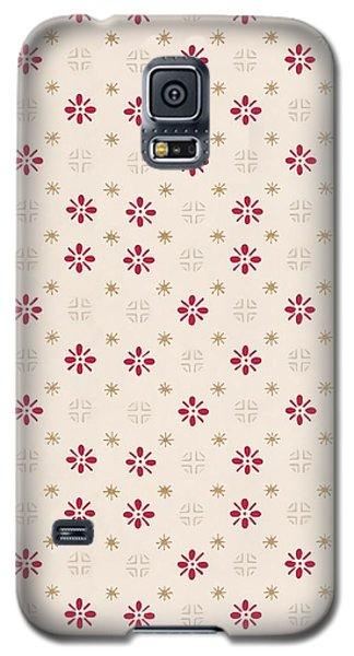 Galaxy S5 Case featuring the digital art Retro Red Flower Gold Star Vintage Wallpaper by Tracie Kaska