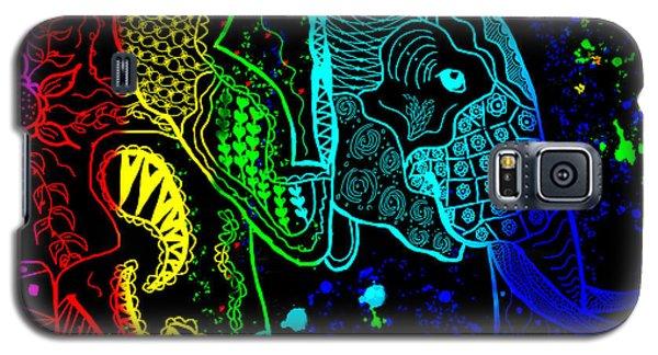 Rainbow Zentangle Elephant With Black Background Galaxy S5 Case