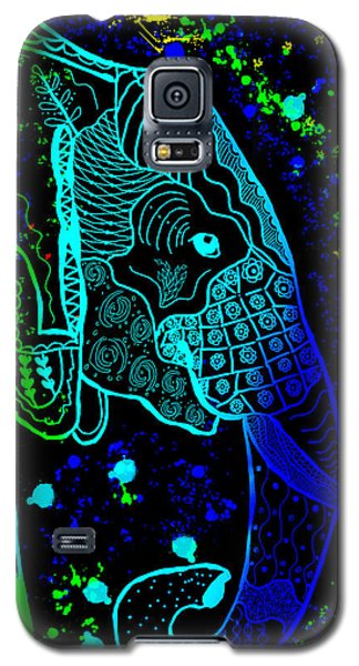 Rainbow Zentangle Elephant With Black Background Galaxy S5 Case