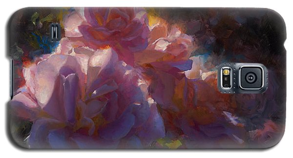 Galaxy S5 Case featuring the painting Rhapsody Roses - Flowers In The Garden Painting by Karen Whitworth