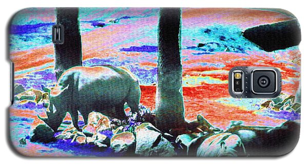 Rhinos Having A Picnic Galaxy S5 Case by Abstract Angel Artist Stephen K