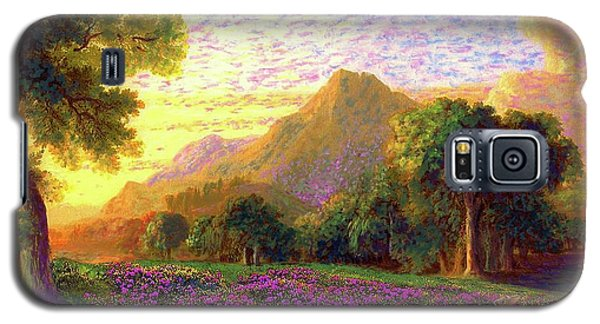 Galaxy S5 Case featuring the painting Rhododendrons, Rabbits And Radiant Memories by Jane Small