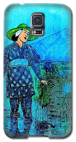 Galaxy S5 Case featuring the painting Rice Field Blues by Roberto Prusso
