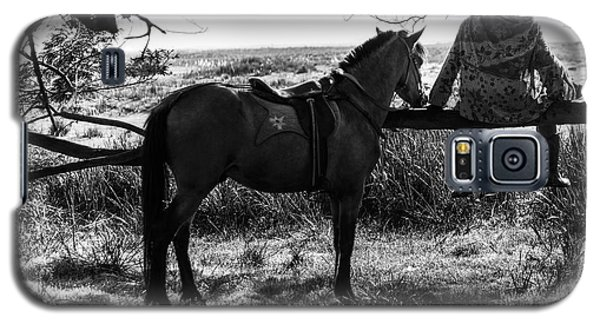 Rider And Horse Taking Break Galaxy S5 Case