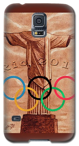 Galaxy S5 Case featuring the painting Rio 2016 Christ The Redeemer Statue Artwork by Georgeta Blanaru