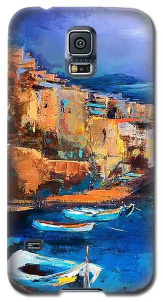 Galaxy S5 Case featuring the painting Riomaggiore - Cinque Terre by Elise Palmigiani